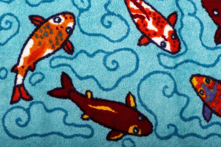 New 90's Vintage Inspired Hermes Oversize Koi Fish Beach Bath Towel In New Condition For Sale In West Hollywood, CA