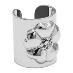 .925 Sterling Silver Blossom Cuff Ring