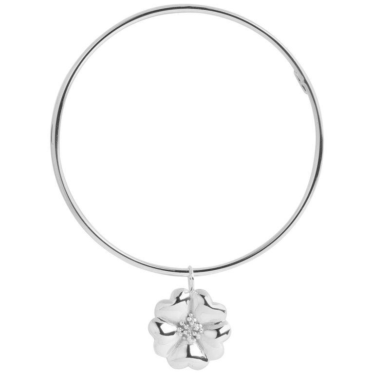 925 Sterling Silver Blossom Dangle Bangle Bracelet For Sale at 1stDibs