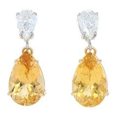 9.41 Carat Pear Cut Yellow Danburite and Diamond Earrings, 18k Gold Custom GIA