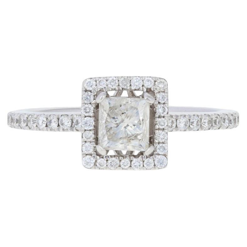 .94 Carat Princess Cut Diamond Engagement Ring, 14 Karat White Gold Square Halo