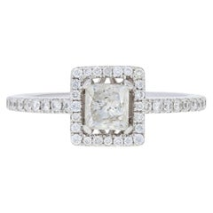 .94 Carat Princess Cut Diamond Engagement Ring, 14 Karat White Gold Square Halo