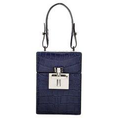 New $9690 Oscar De La Renta Blue Alligator Alibi Bag W/ Box & Tags