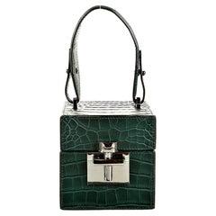 New $9690 Oscar De La Renta Green Alligator Alibi Bag W/ Box & Tags