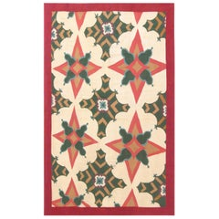 New Aubusson Brown, Green& Red Handmade Wool Rug by Richard Keith Langham