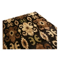 New Afghan Beige and Black Goat Hair Rug