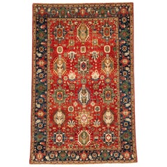 New Afghan Karadja Transitional Rug in Rust, Blue, Yellow, and Cream