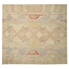 New Afghan Square Rug Moroccan Design