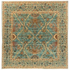 New Afghan Transitional Delicate Floral Design Rug with a Light Blue Main Field