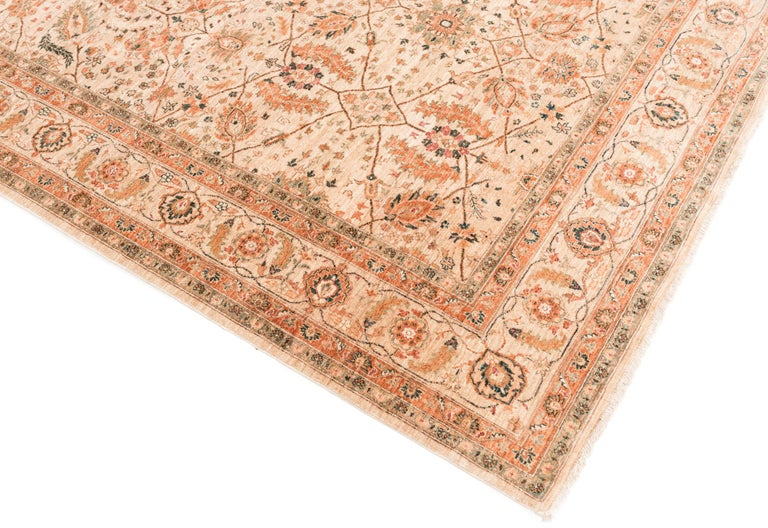 Hand-Knotted Afghan Transitional Rug Handwoven with Ivory, Orange, Green Wool For Sale