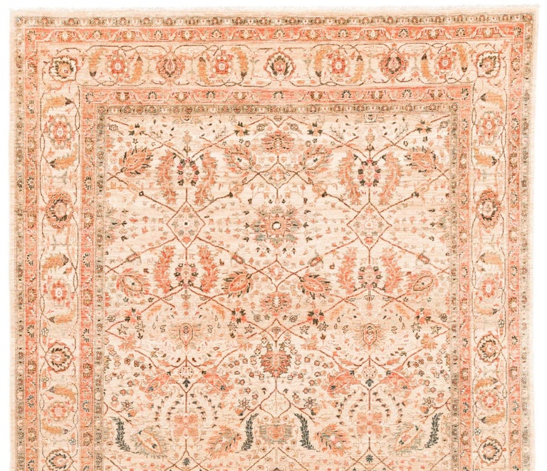 Afghan Transitional Rug Handwoven with Ivory, Orange, Green Wool In New Condition For Sale In Evanston, IL