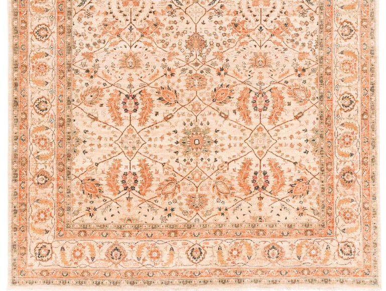 Contemporary Afghan Transitional Rug Handwoven with Ivory, Orange, Green Wool For Sale