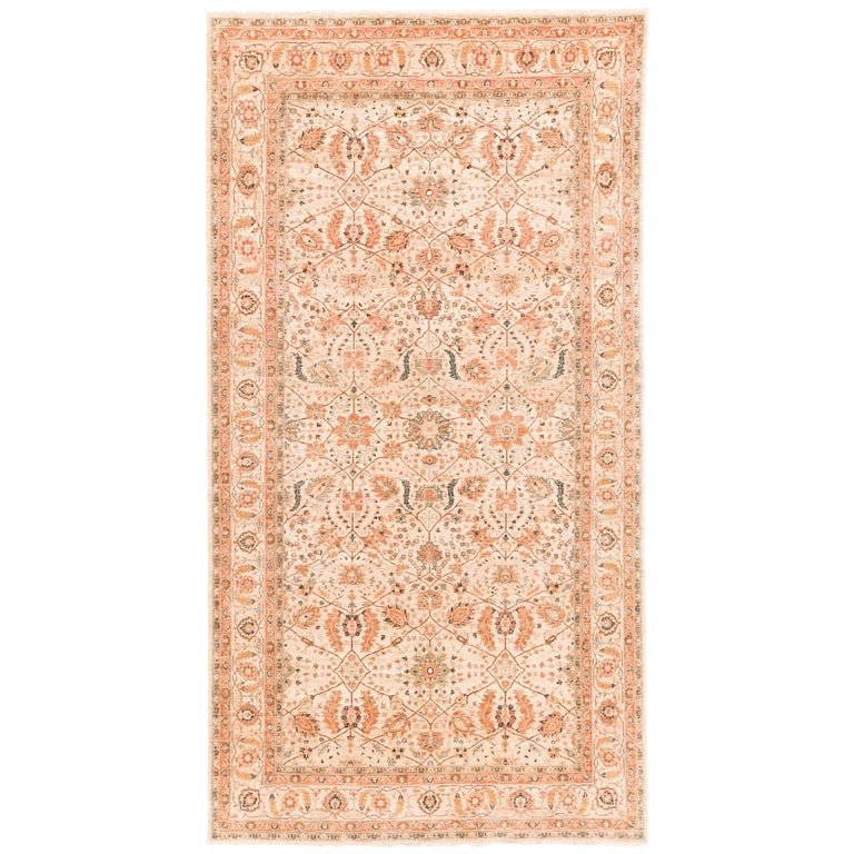 Afghan Transitional Rug Handwoven with Ivory, Orange, Green Wool For Sale