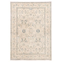 New Afghan Transitional Rug Handwoven with Ivory and Blue Wool