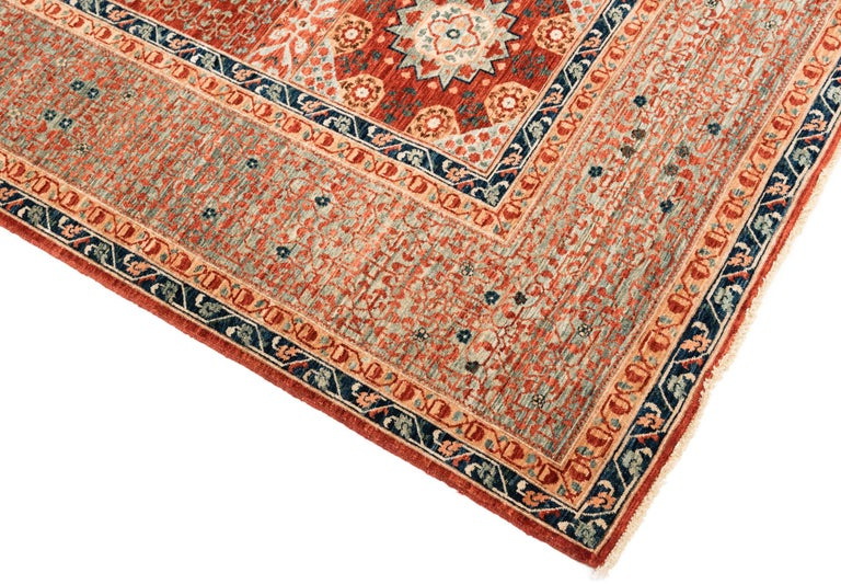 Hand-Knotted New Afghan Transitional Rug in Blue and Orange on an Ivory Field For Sale