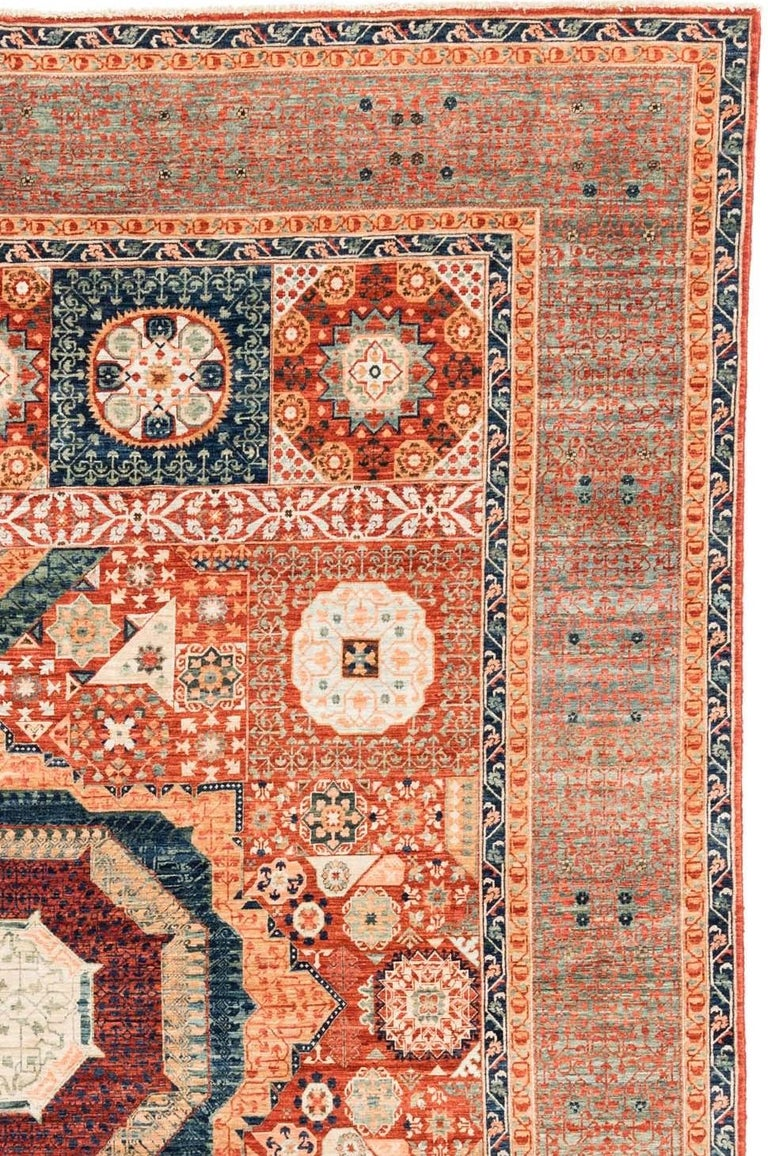 New Afghan Transitional Rug in Blue and Orange on an Ivory Field In New Condition For Sale In Evanston, IL