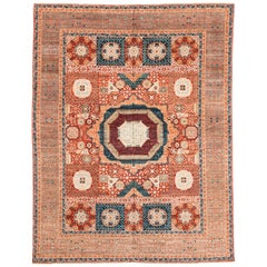 New Afghan Transitional Rug in Blue and Orange on an Ivory Field