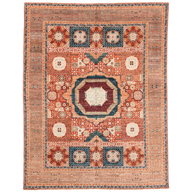 New Afghan Transitional Rug in Blue and Orange on an Ivory Field For Sale