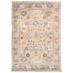 New Afghan Transitional Rug with Light Blue and Ivory Wool