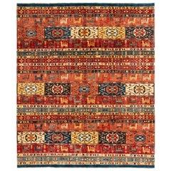 New Afghan Rug Hand Knotted Wool in Multi-Colors with Quilted Tribal Design