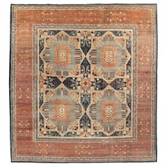 """New Hand-Woven Afghani Square Rug with Navy and Coral Wool Colors 13'2"""" x 14'1"""""""