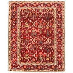 New Agra Design Inspired Transitional Red and Beige Wool Rug