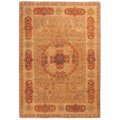 Rug & Kilim's New Agra Red and Beige Wool Floral Pattern