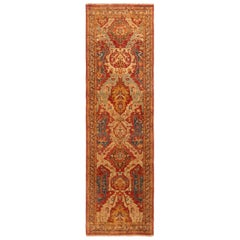 Rug & Kilim's New Agra Red and Gold Wool Runner Floral Pattern