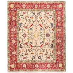 New Agra Traditional Red and Beige Cotton Rug with Herati Design