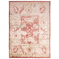 New Agra Transitional Red and Ivory Silk Rug