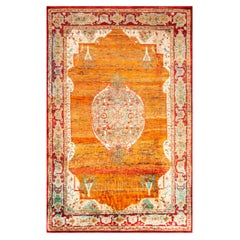 New Agra Transitional Red and Orange Silk Rug