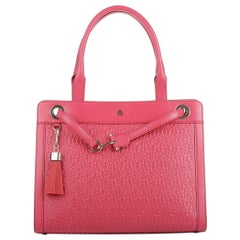 NEW Aigner Pink Logo Embossed Shoulder Bag Tote with Tassel, Charms & Zip Wallet