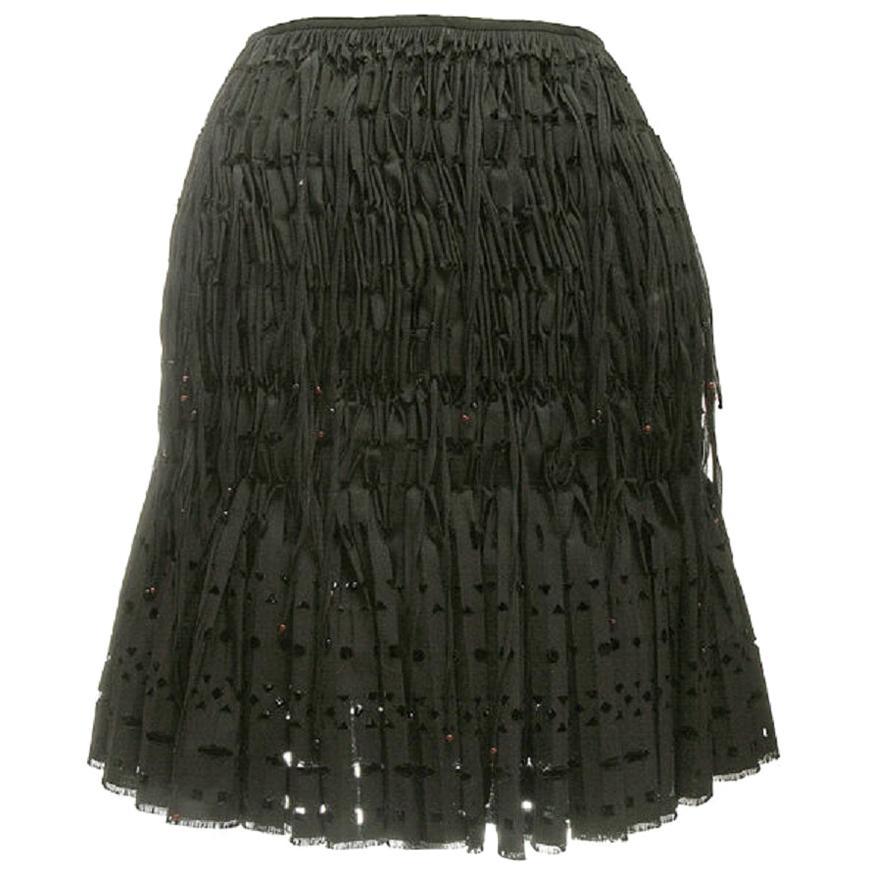 new ALAIA black geometric cut out pleated shirred red bead fringe skirt FR38