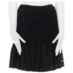 "new ALAIA black wool bead embellished fringe cutout pleated skirt FR38 S 26"""