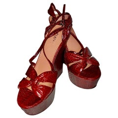 NEW Alaia Exotic Snake Skin High Heel Wedges Sandals