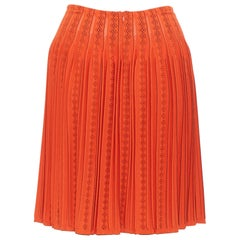 new ALAIA orange geometric jacquard intarsia knit pleated flared skirt FR40 M