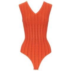 new ALAIA orange geometric jacquard ribbed knit V-neck bodysuit top FR38 S