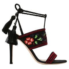 New Alberta Ferretti Beaded and Embroidered Satin Stiletto Heel Sandals 39  US 9