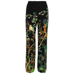 New ALBERTA FERRETTI Jungle Printed Black Silk Wide-Leg Pants It. 44