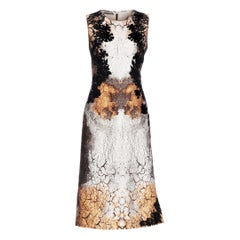 New Alberta Ferretti Bronze Metallic Jacquard Dress with Application It. 44 US 8