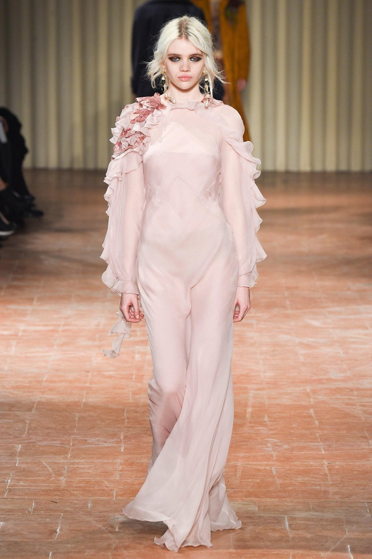 New Alberta Ferretti Runway Silk Long Dress Gown with Application F/W 2017 Collection Designer size 40- US 4 100% Silk, Soft Pink, Exquisite Shoulder Application with Embroidery and Sequins, Comes with the Slip, Zipper & Button Closure. Measurements