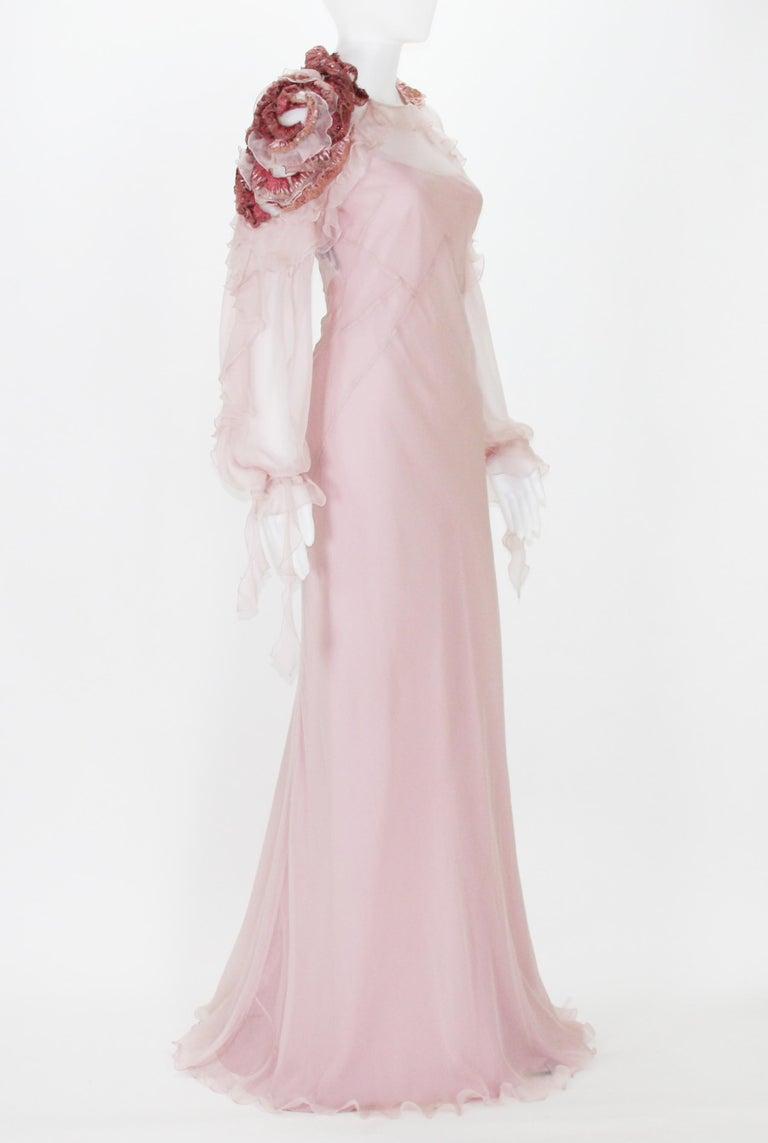 Beige New Alberta Ferretti Runway F/W 2017 Silk Pink Wedding Dress with Application 40 For Sale