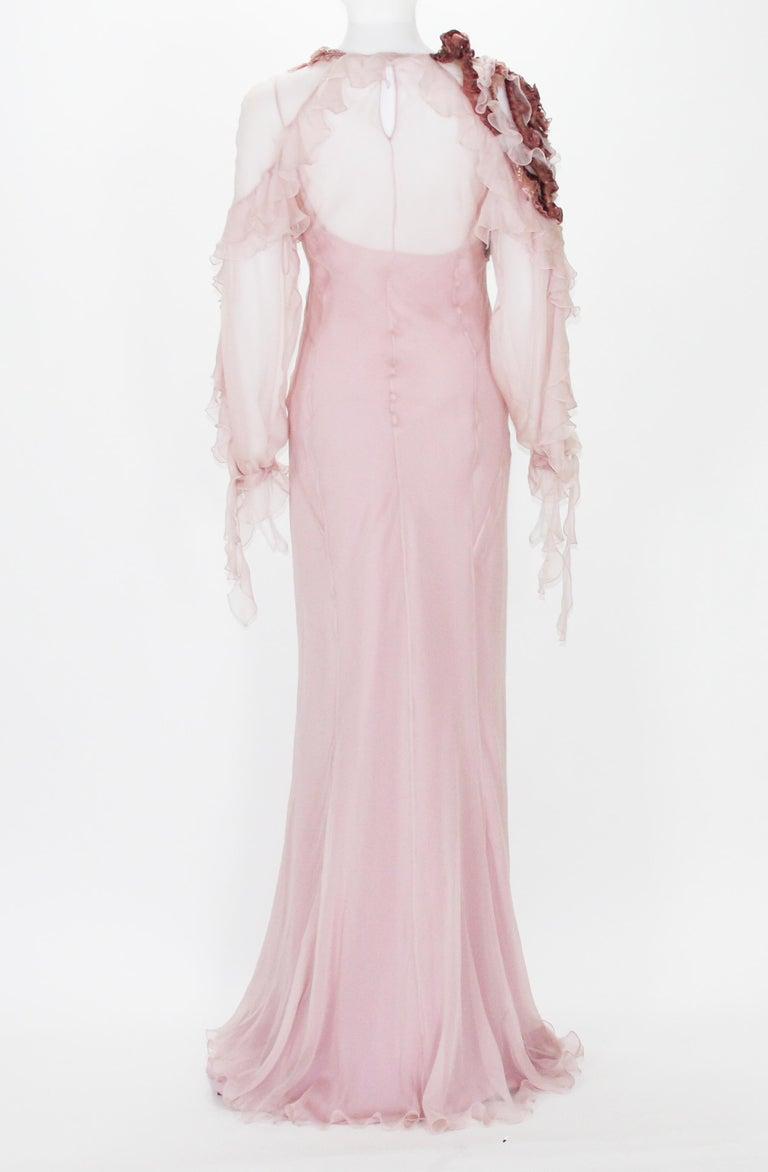 Women's New Alberta Ferretti Runway F/W 2017 Silk Pink Wedding Dress with Application 40 For Sale