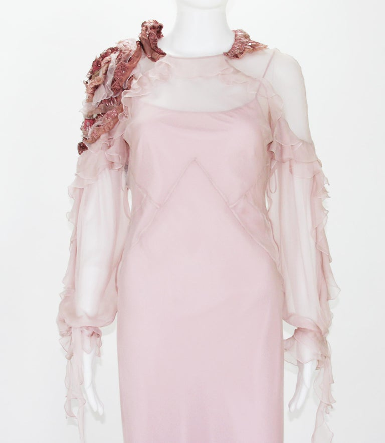 New Alberta Ferretti Runway F/W 2017 Silk Pink Wedding Dress with Application 40 For Sale 1