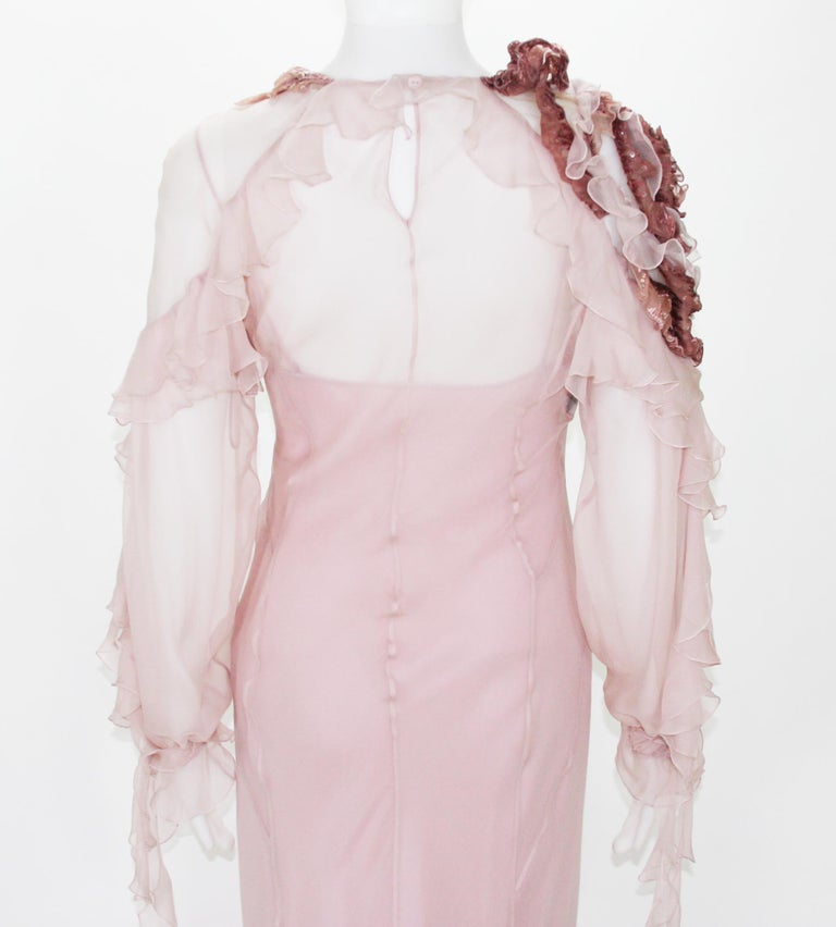 New Alberta Ferretti Runway F/W 2017 Silk Pink Wedding Dress with Application 40 For Sale 3