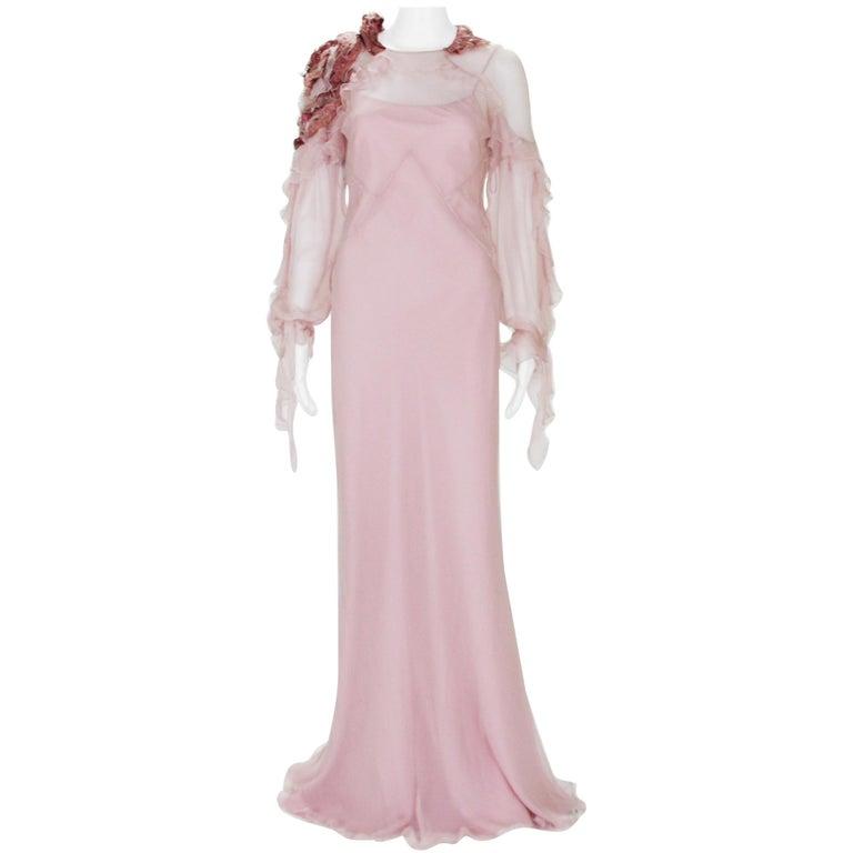 New Alberta Ferretti Runway F/W 2017 Silk Pink Wedding Dress with Application 40 For Sale