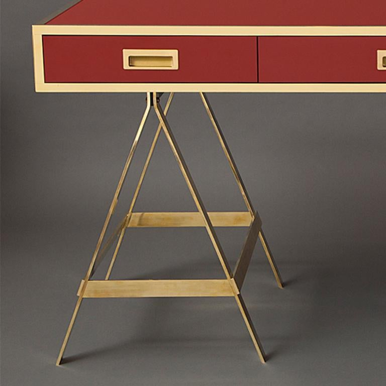 American New Albrizzi Trestle Desk in Brass For Sale