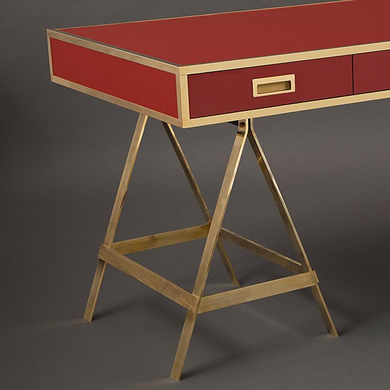 New Albrizzi Trestle Desk in Brass In New Condition For Sale In New York, NY