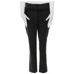 new ALC leather waist navy grey wool tweed colorblocked slim fit pants