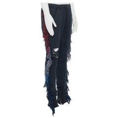 new ALCHEMIST Ryder washed black cotton distressed fringe trimmed sweatpants L
